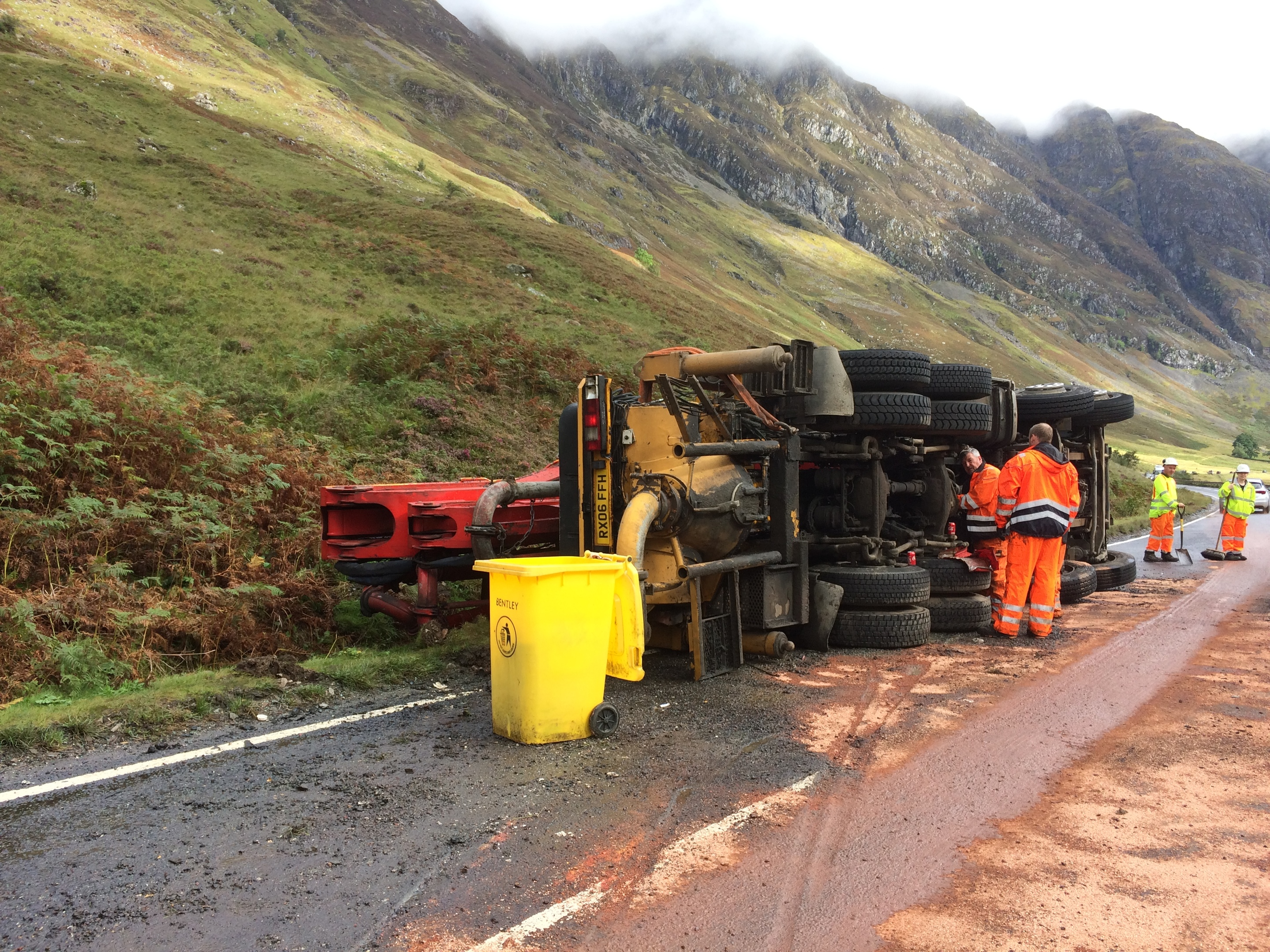 The overturned crane on the A82