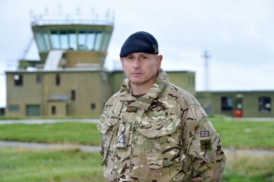 Major Dafydd Howells, officer commanding 48 Field Squadron, is ready to lead his troops to the Caribbean on one-hour's notice. Pics by Kenny Elrick,