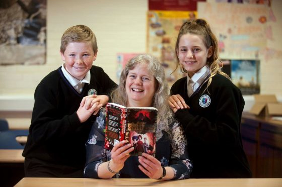 Author Lari Don ran workshops for Speyside High School pupils, including Mitchell McGillivray, pictured left, and Catherine Mellis, right.
