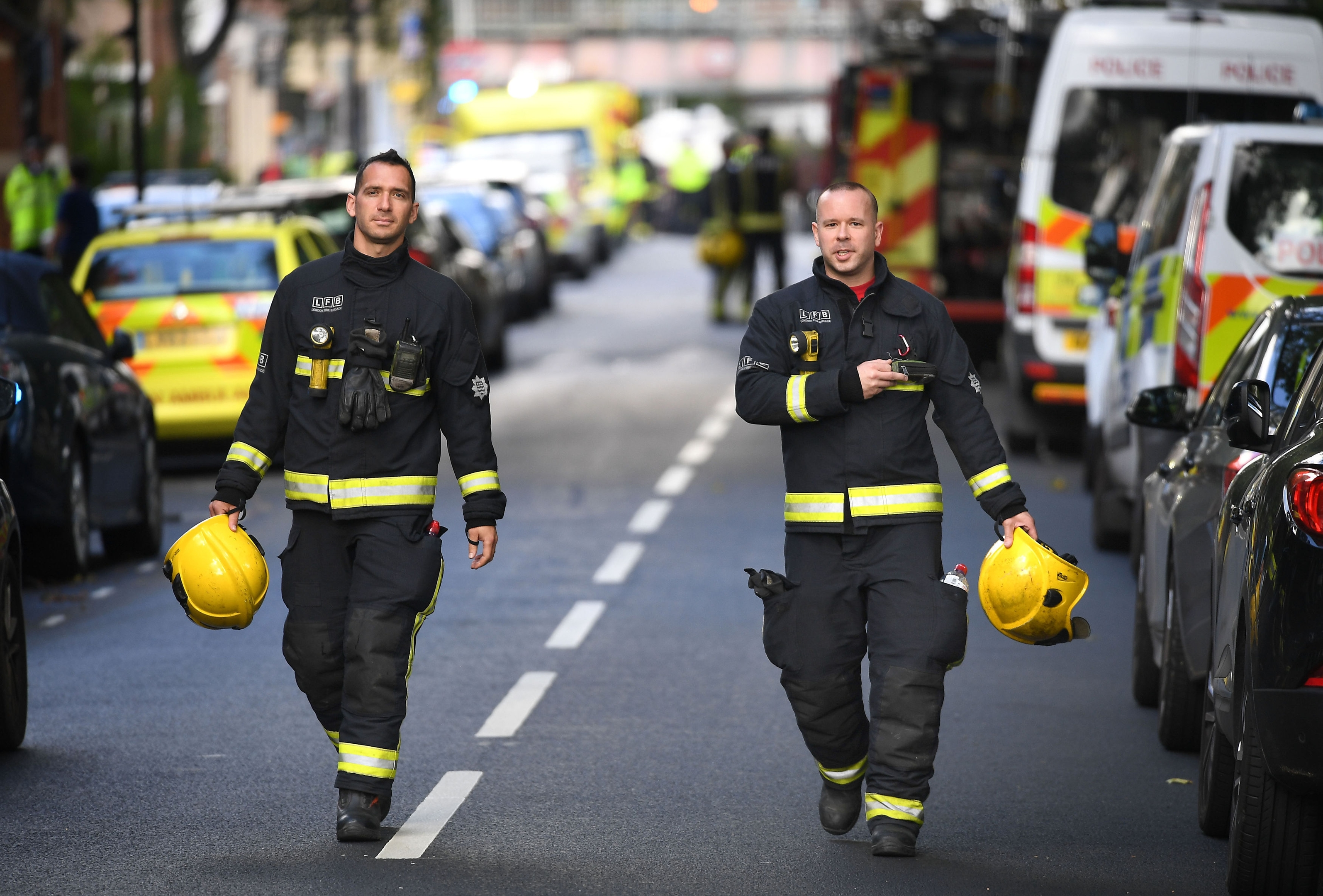 "Emergency services outside Parsons Green station in west London after Scotland Yard declared a terrorist incident following a blast sent a ""fireball"" and a ""wall of flame"" through a packed London Underground train."