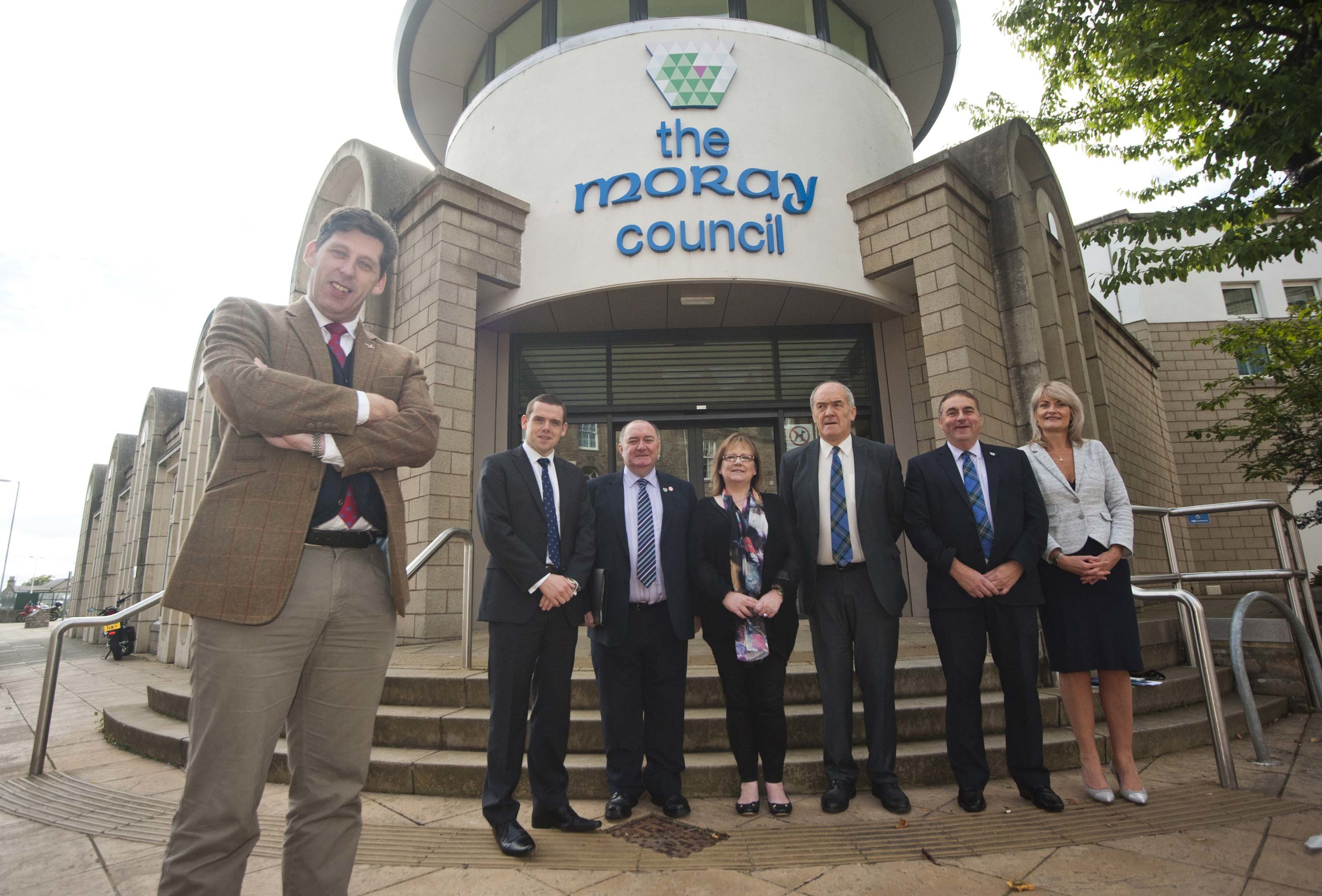 Scottish Office minister Lord Ian Duncan, pictured left, met Moray MP Douglas Ross and senior council figures about the city deal in Elgin.