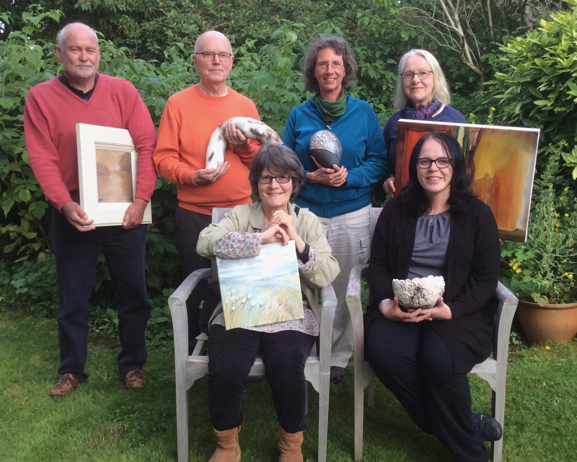 Moray artists have formed a trail of studios for visitors to the region. Back row: Graham Pook, Iain Campbell, Vera Bohlen, Dina Leigh. Seated: Jude Edgar, Jill Sutherland.