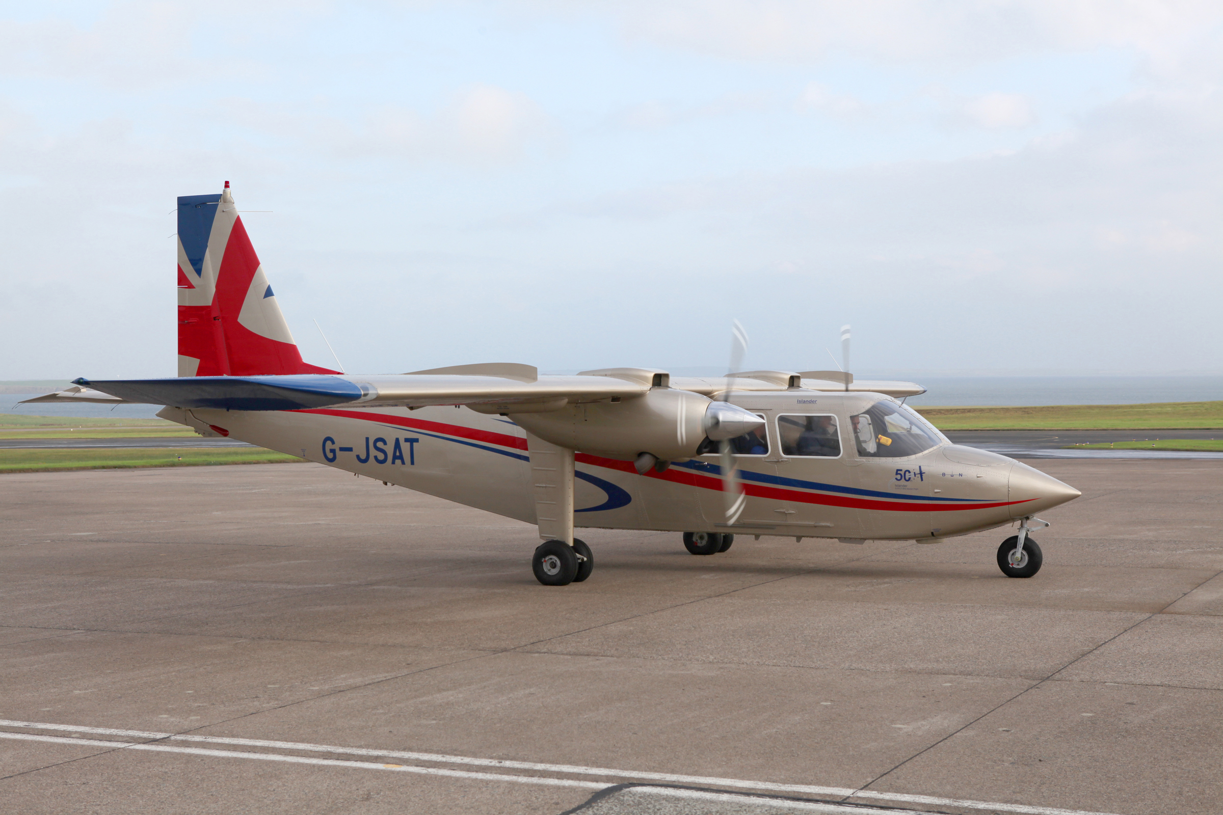 To mark the 50th anniversary of Loganair a gold islander aircraft by Britten-Norman took flight