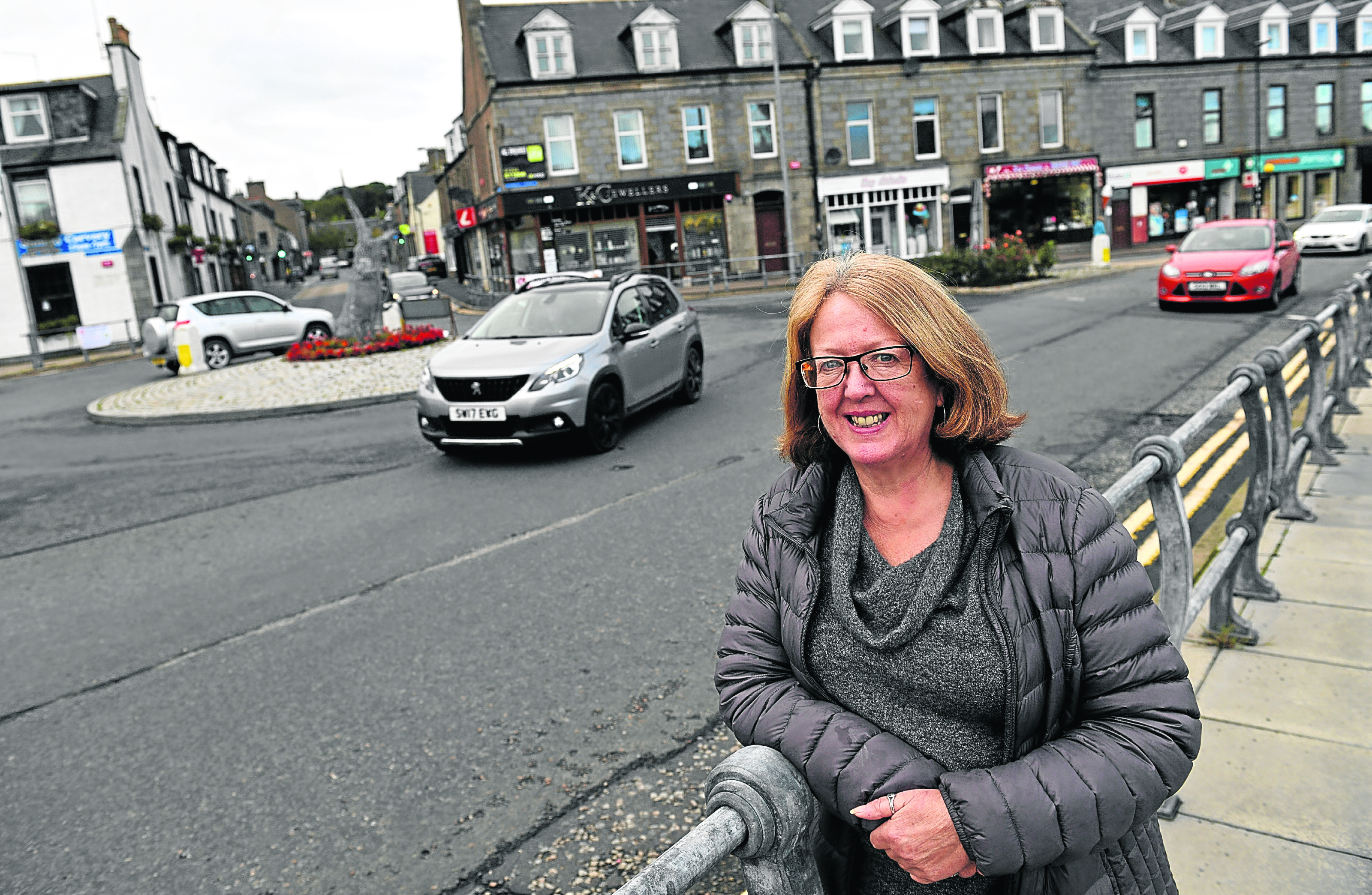 Councillor Isobel Davidson in the centre of Ellon where a gang of youths are causing a nuisance on bikes.     Picture by Kami Thomson