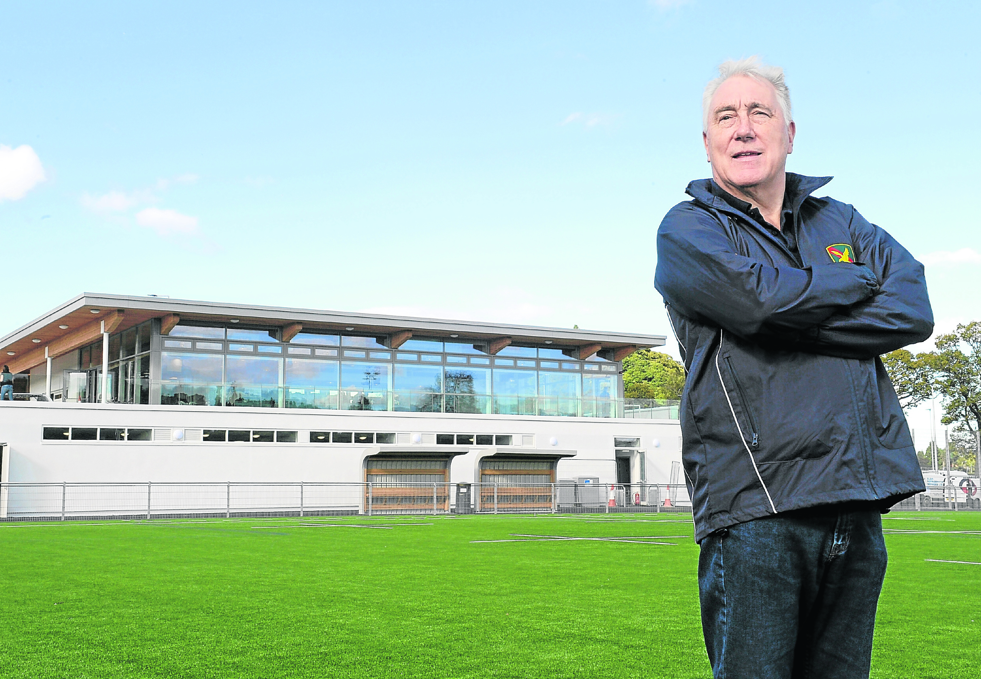 Andy Little, Chairman of the Highland Rugby Club as their new facilities are completed at Canal Park, Inverness yesterday. Pic by Sandy McCook.