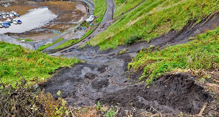 Tonnes of mud came crashing down the cliff at Portknockie.