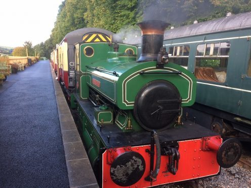 The Bon Accord pulling three passenger carriages for the first time at the Royal Deeside railway.