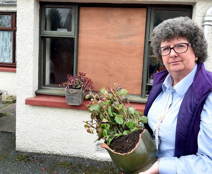Unknown assailants threw a large pot plant through Gillian Owen's window last week.