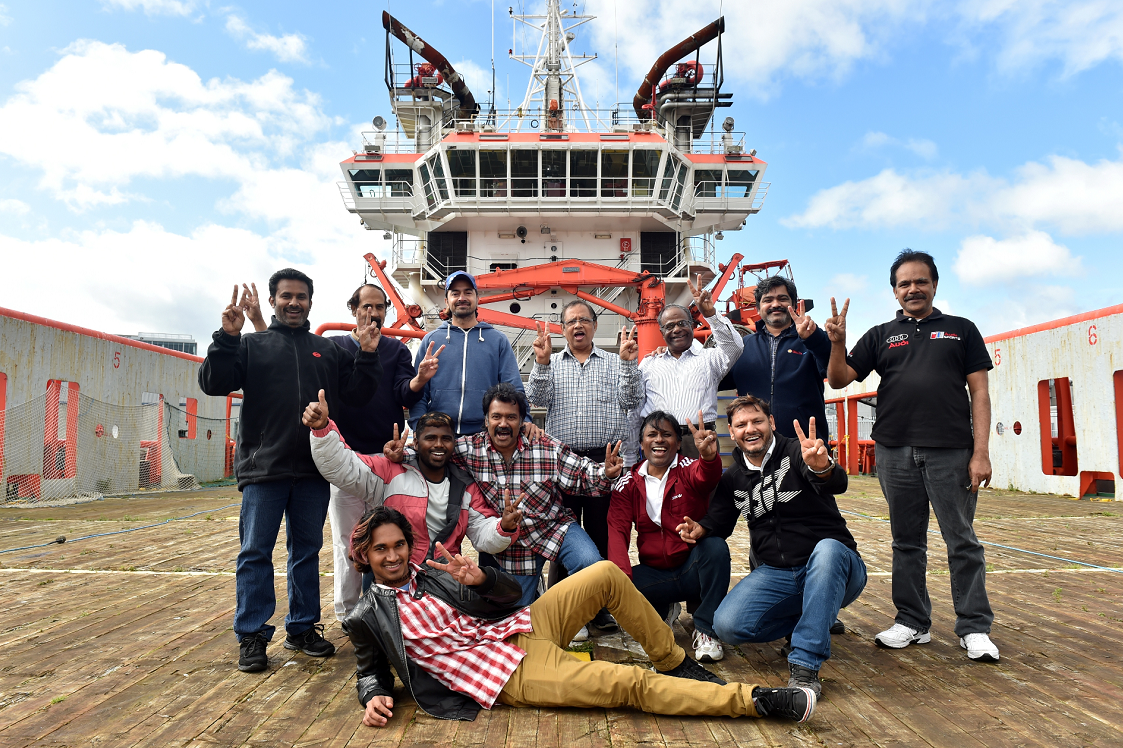 The crew of the Malaviya Seven celebrate being able to sell the vessel in September