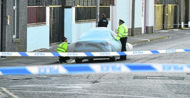 Police at the scene in Torry yesterday
