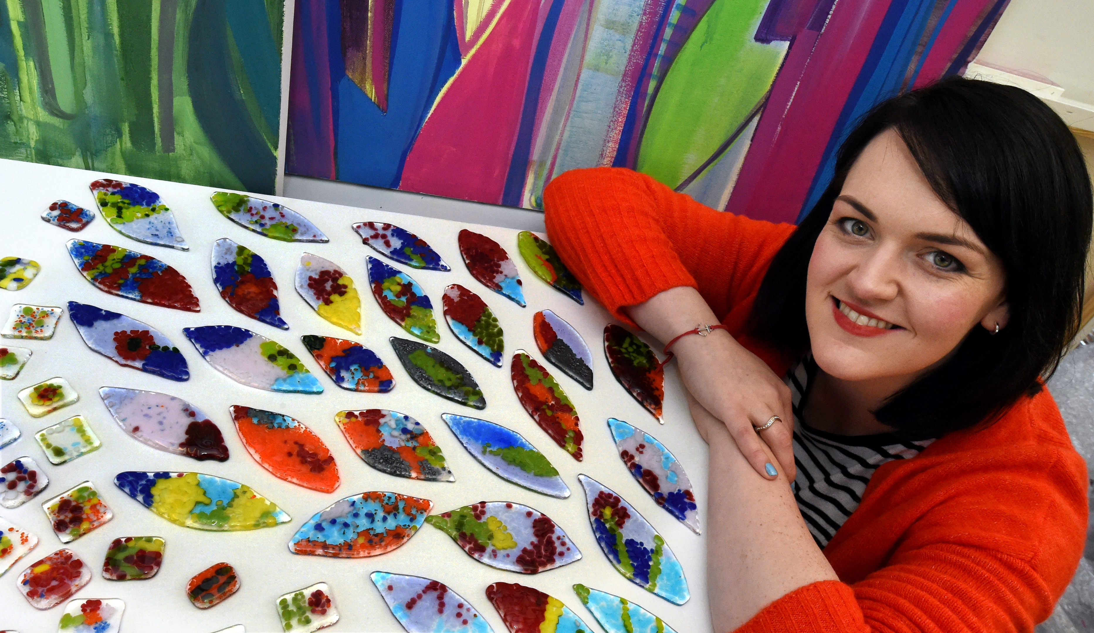 Artist in residence, Shelagh Swanson putting together designs for a wall at the Winter Gardens, Duthie Park, Aberdeen. Picture by Jim Irvine