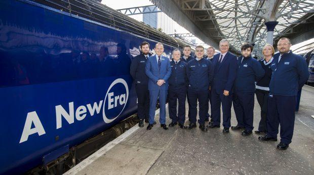 (Left - Right) Jordan Jack, Scotrail MD Alex Hynes, Jimmy Wilson, Derek Penman, Chris Carr, Keith Ingram, Kris Kirk, Bill Reeve, Director of Rail Transport Scotland Jenny Scott, and Gavin Tasker