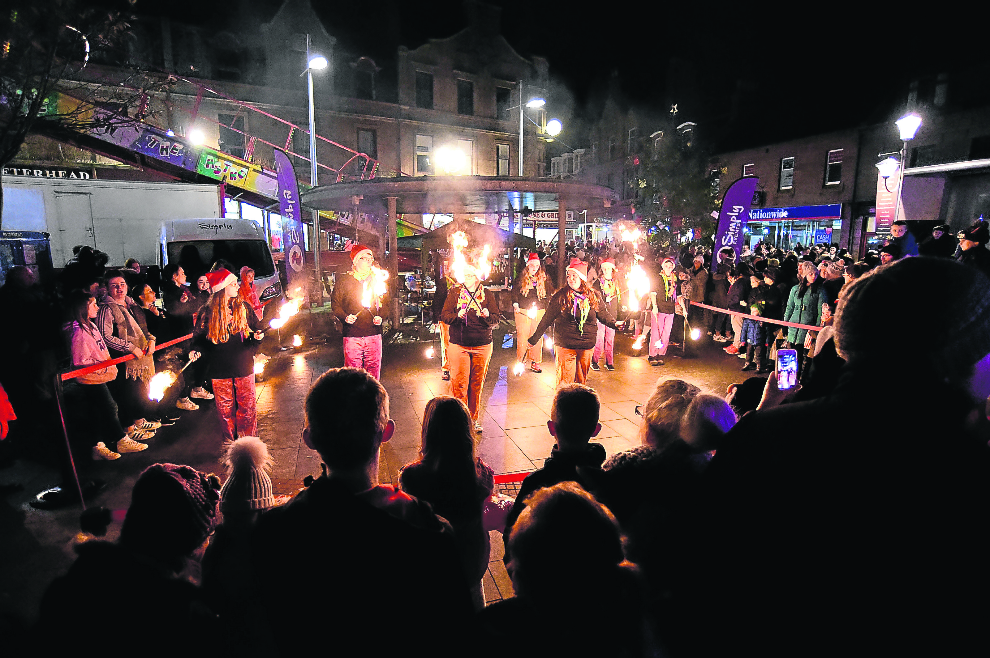 Theatre Modo fire dancers entertained crowds at Peterhead's Christmas lights switch-on last year