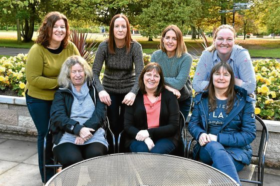 Meeting up at Hazlehead park are (front, from left) Fiona Donald, Sandra Stephen,  Susan Forsyth (back, from left)  Jennifer Yeomans, Jess Cran, Leanne Watt and Catherine Stewart. Picture by Colin Rennie.