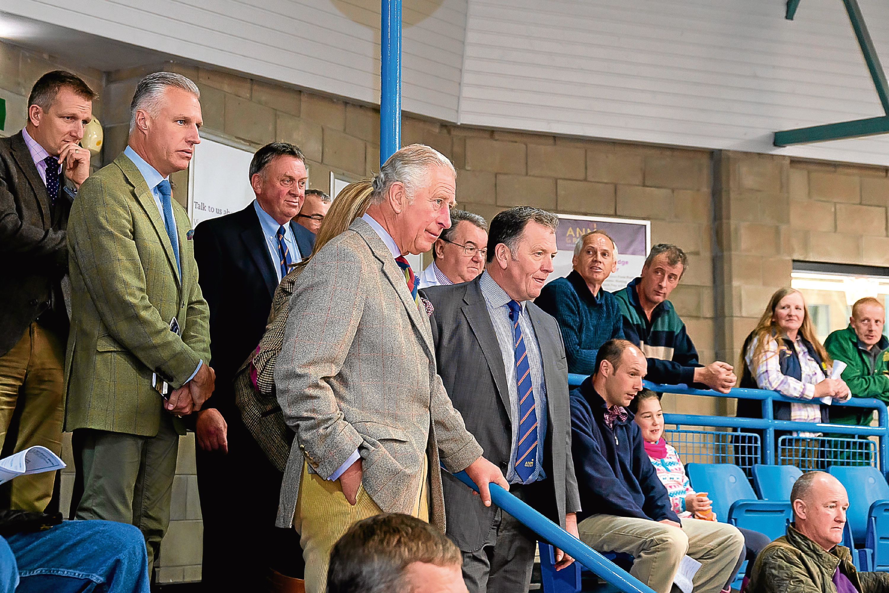 HRH The Duke of Rothesay in the auction ring during a cattle sale at Thainstone Centre Photo credit: Ciro Art Studio