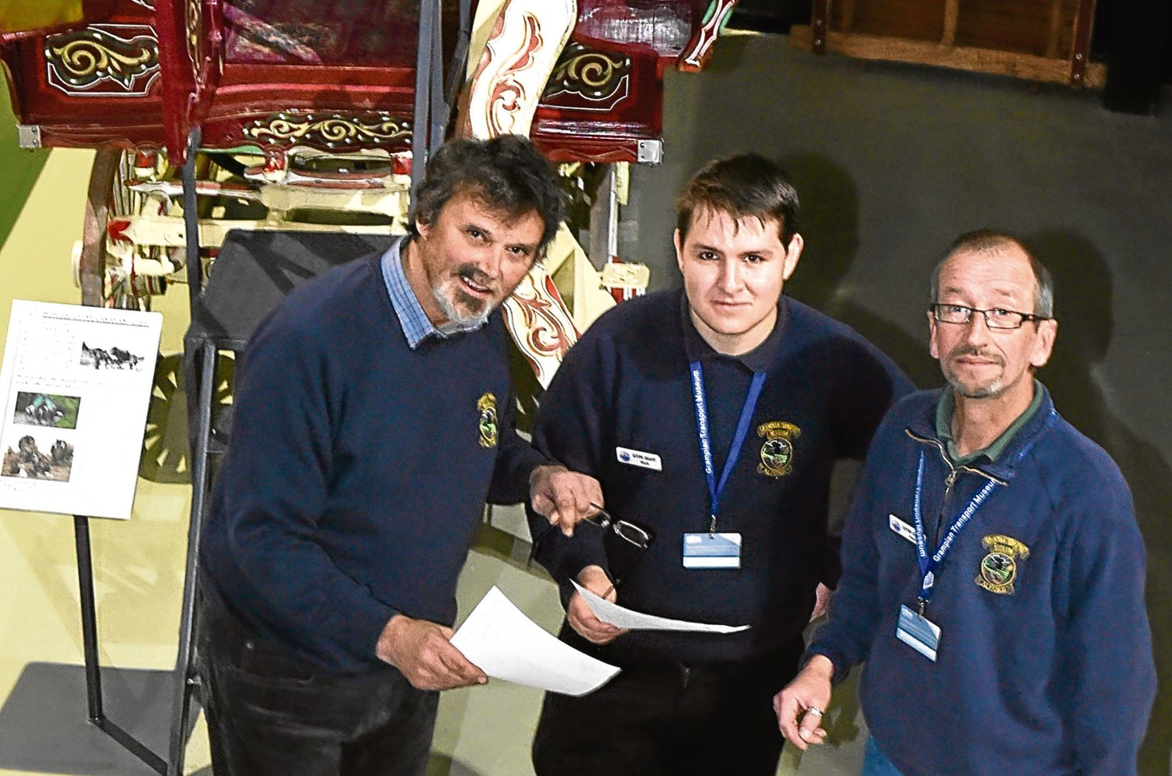 Mike Ward (left) pictured with assistant curator Nick Webb (centre) and Neil Thomson. Picture by Colin Rennie.