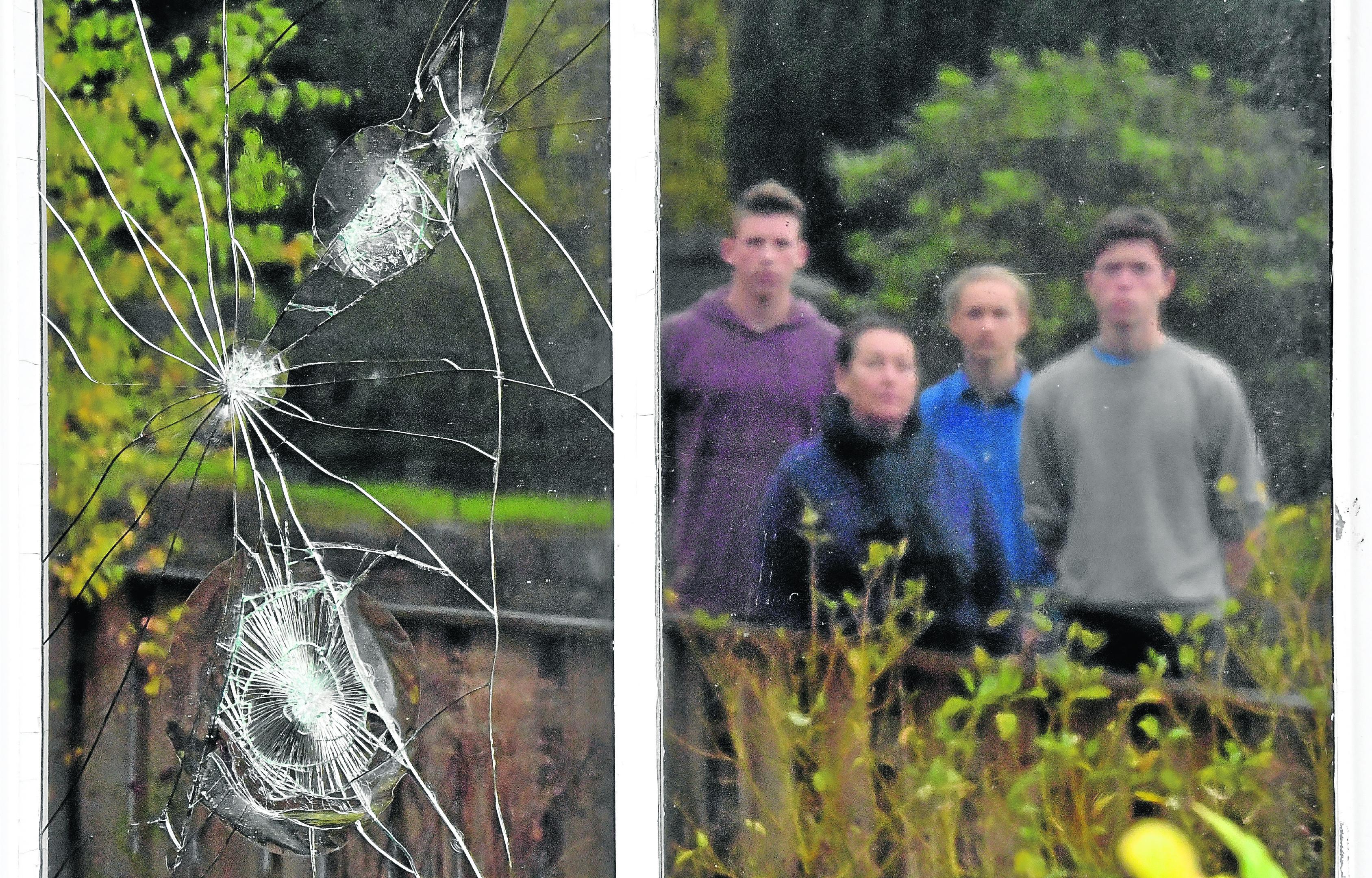 Vandalism at the Aberdeen Green School, Drumoak.      Pictured - Pupils with Head Teacher (HT) L-R Jan Fassbender, HT Diane Elliott, Elias Stammeijer and Nathan Elliott.     Picture by Kami Thomson