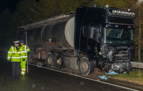 The scene of the fatal crash on the A9