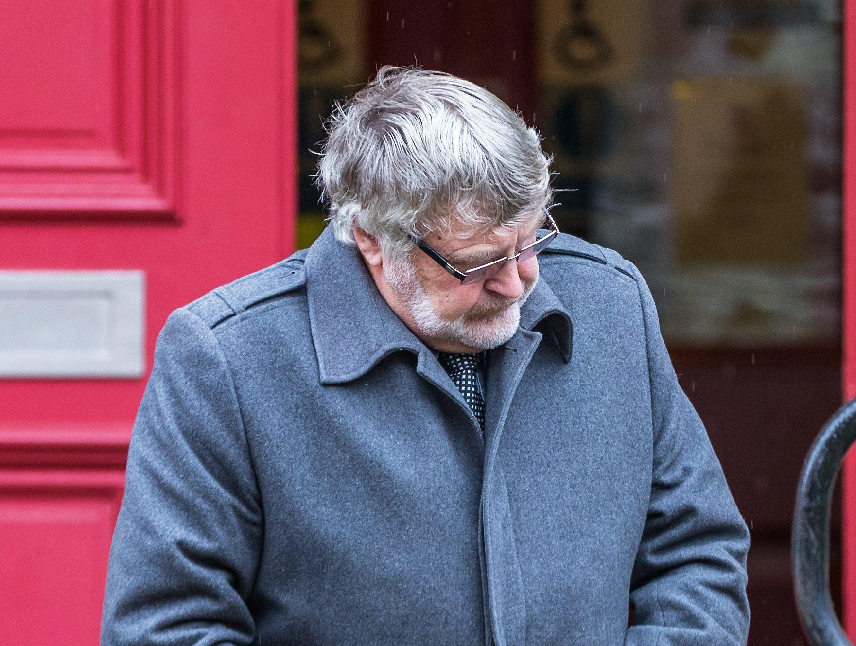 Gordon Philip leaving Elgin Sheriff Court.