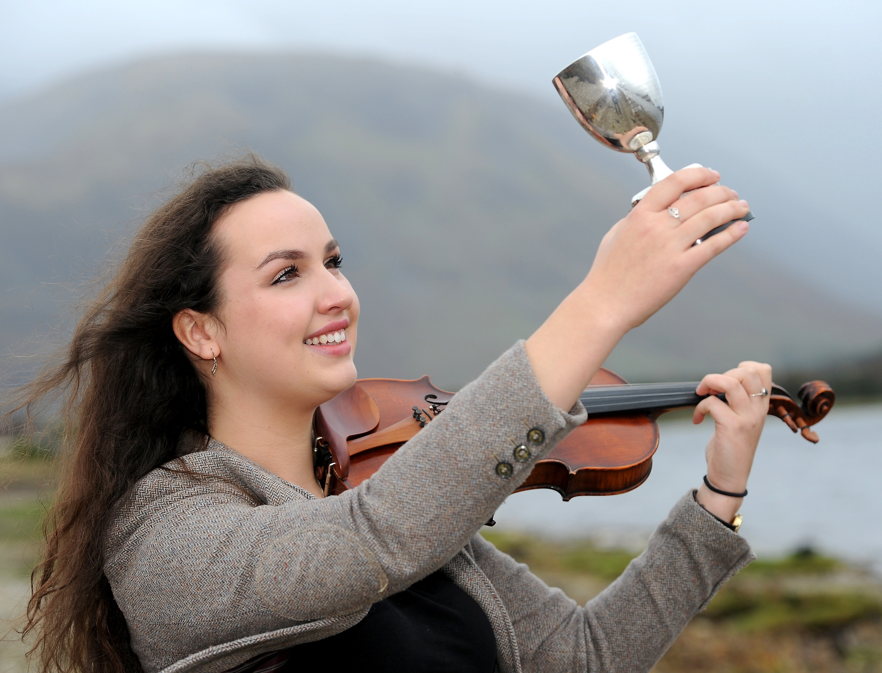Royal National Mod, Fort William 2017 Claire Frances NicNill of Lochaber with the MacCallum Memorial Trophy for Fiddle playing. Pictures and video by Sandy McCook.