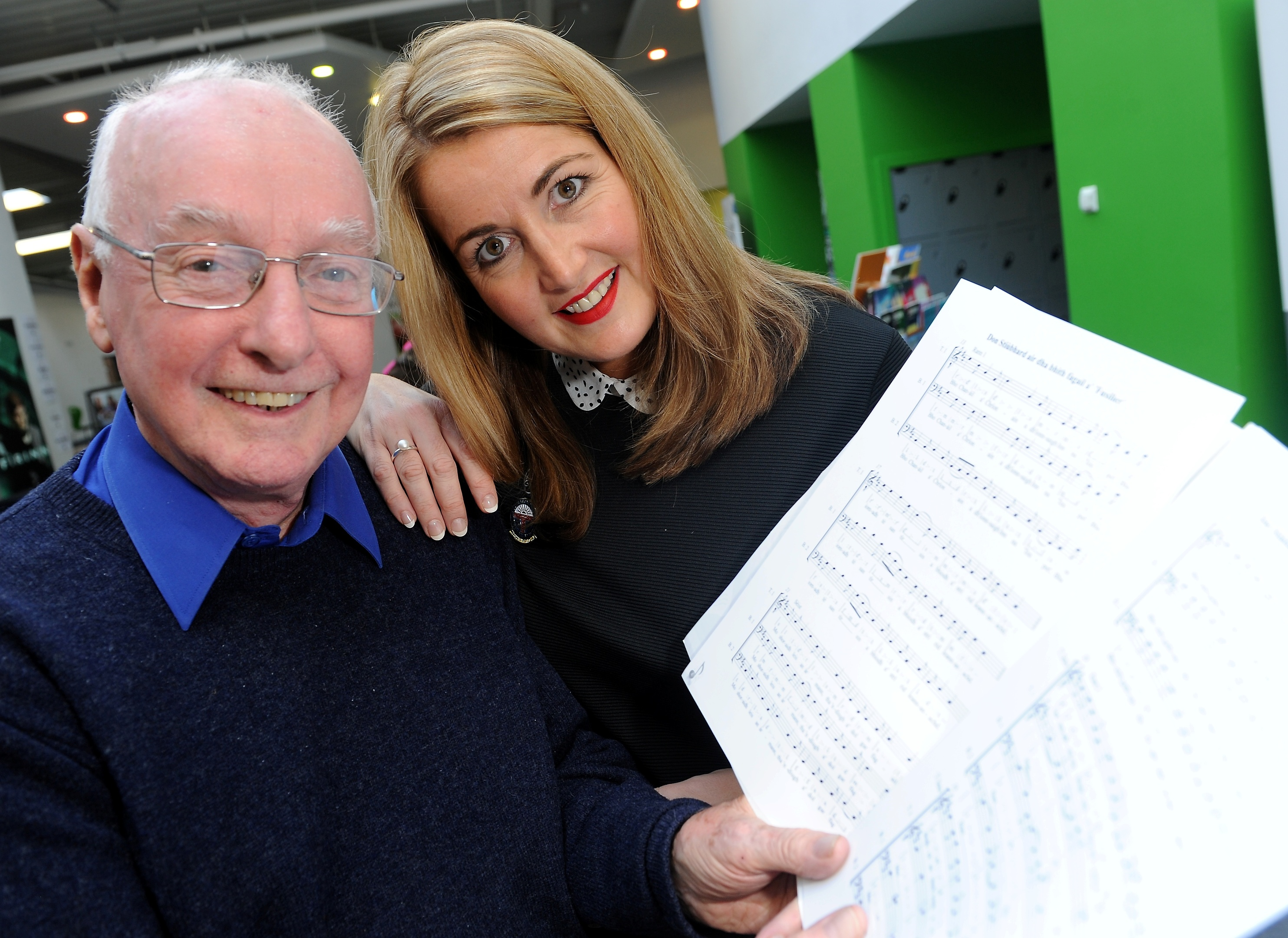 Stalwarts of the Dingwall Gaelic Choir, Hamish Menzies and daughter Kirsteen. Picture by Sandy McCook.