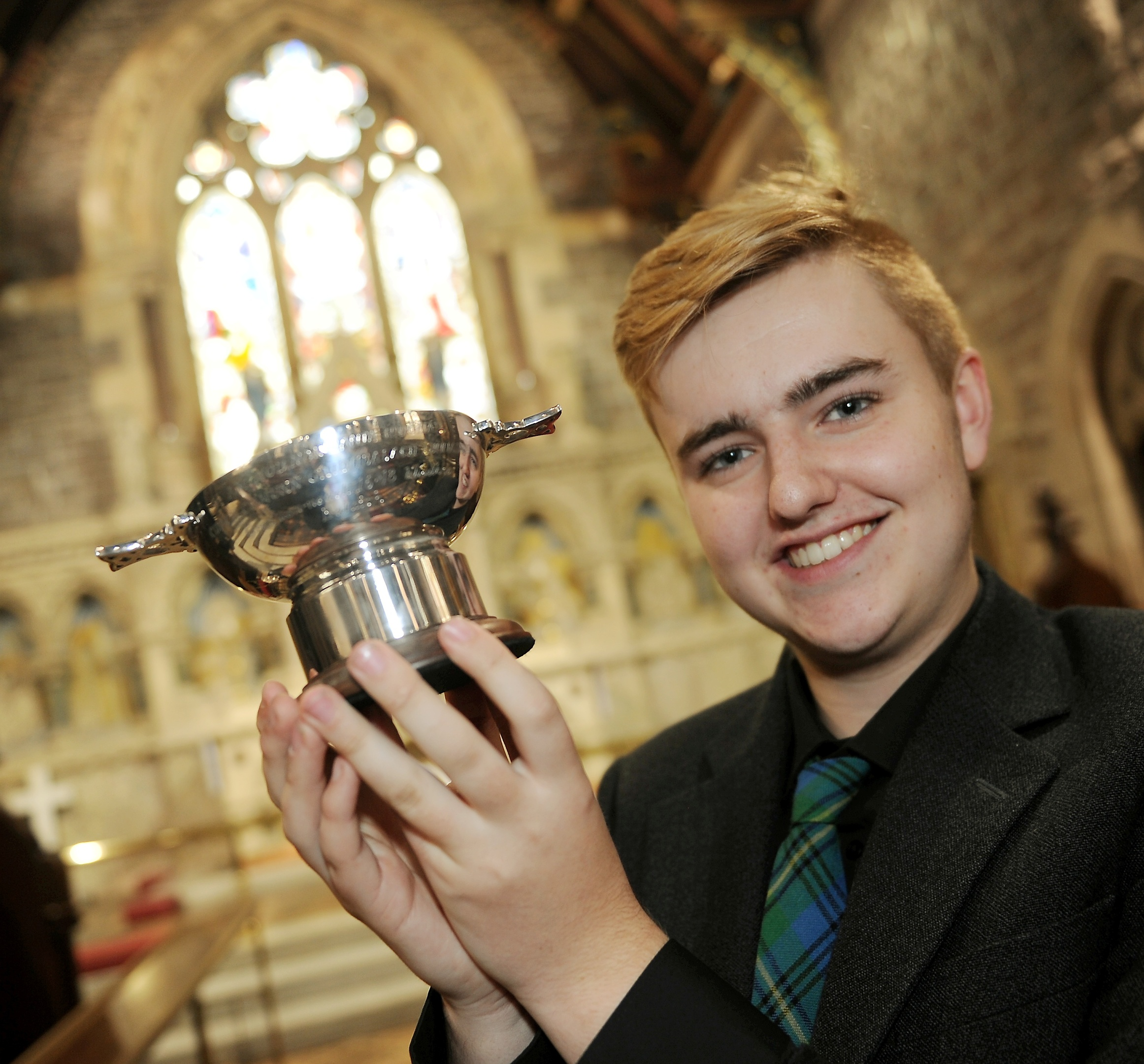 Ryan Johnston of Bowmore on Islay, winner of the Highland Scoiety of London Trophy for Solo singing. Picture and video by Sandy McCook.