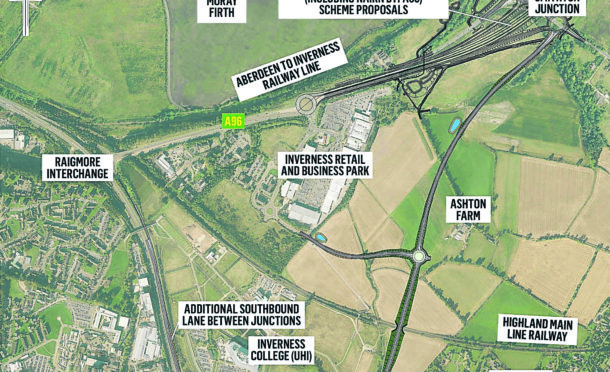 Map showing the A9/A96 link road plans