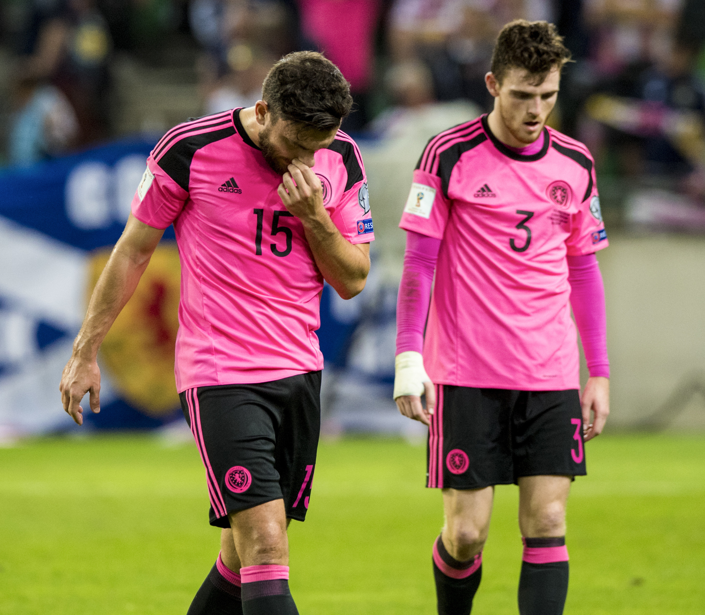 Dejection for Scotland's Robert Snodgrass at full-time