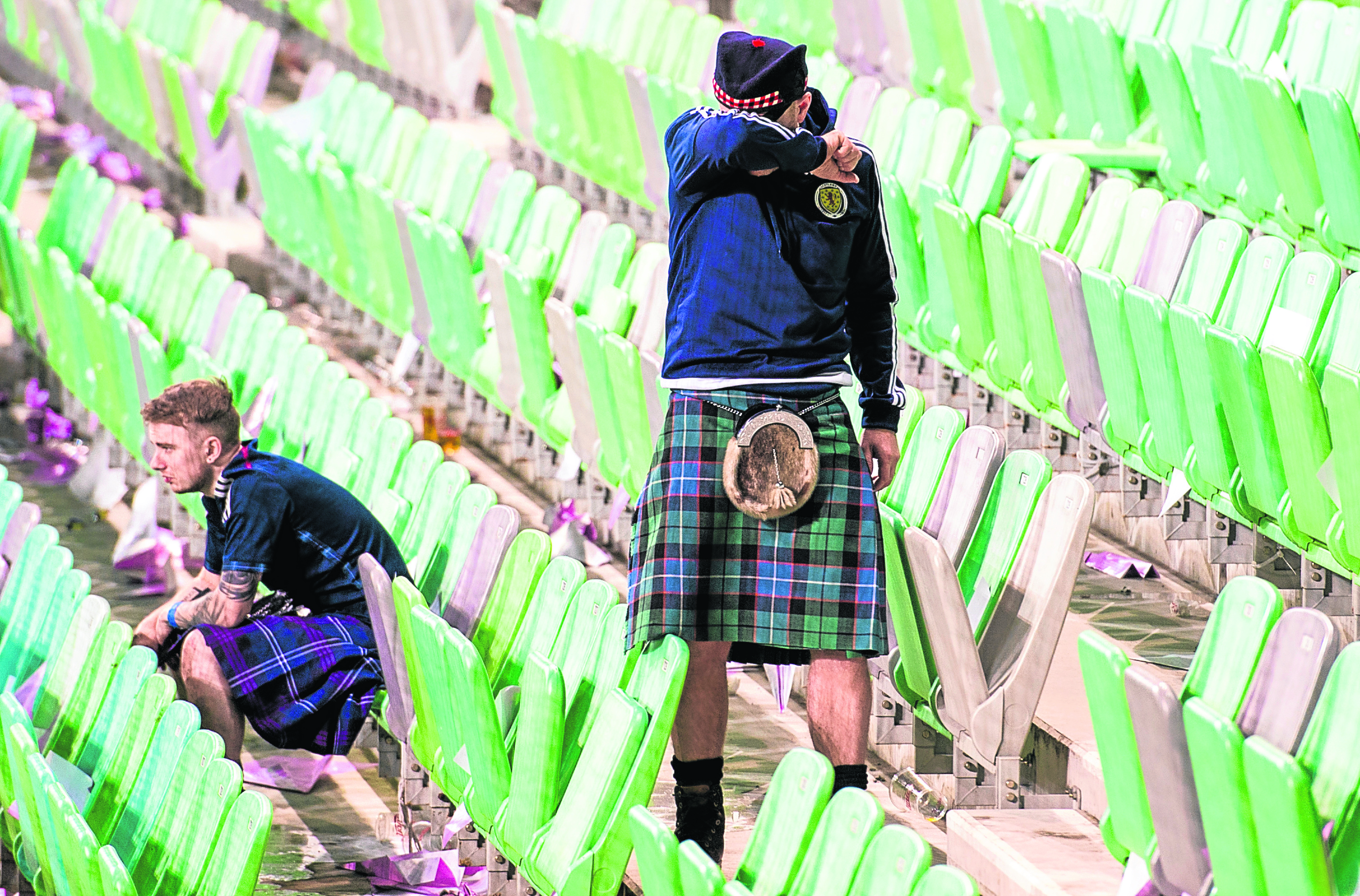 Scotland fans at full-time