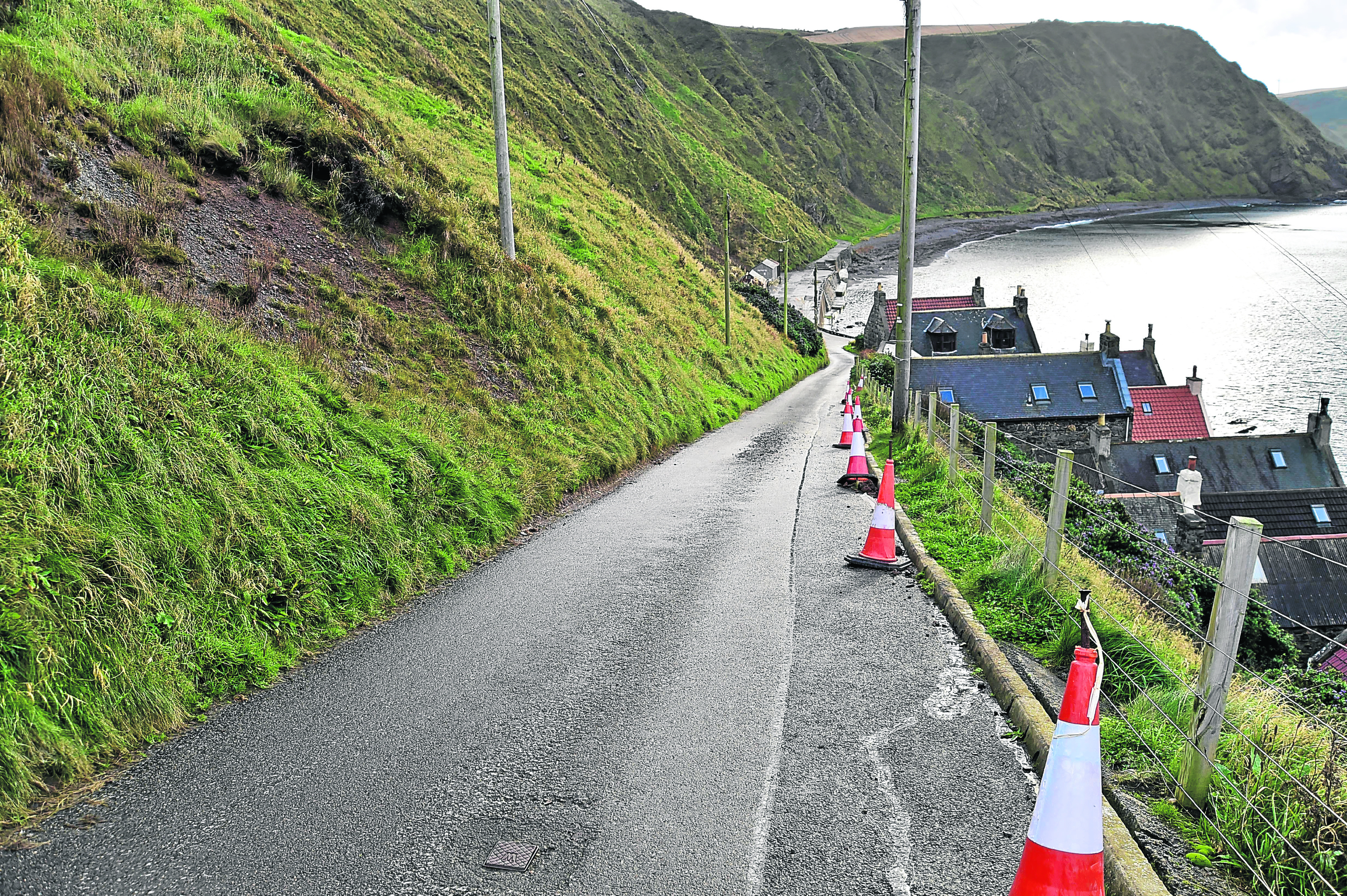 The road at Crovie is closed to motorists.