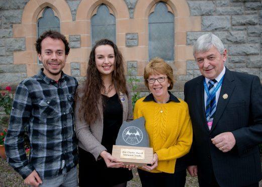 l-r Calum MacColl , Claire Frances MacNeil, winner of the Charles MacColl award with Charlie's wife Mairi MacColl and Allan Campbell