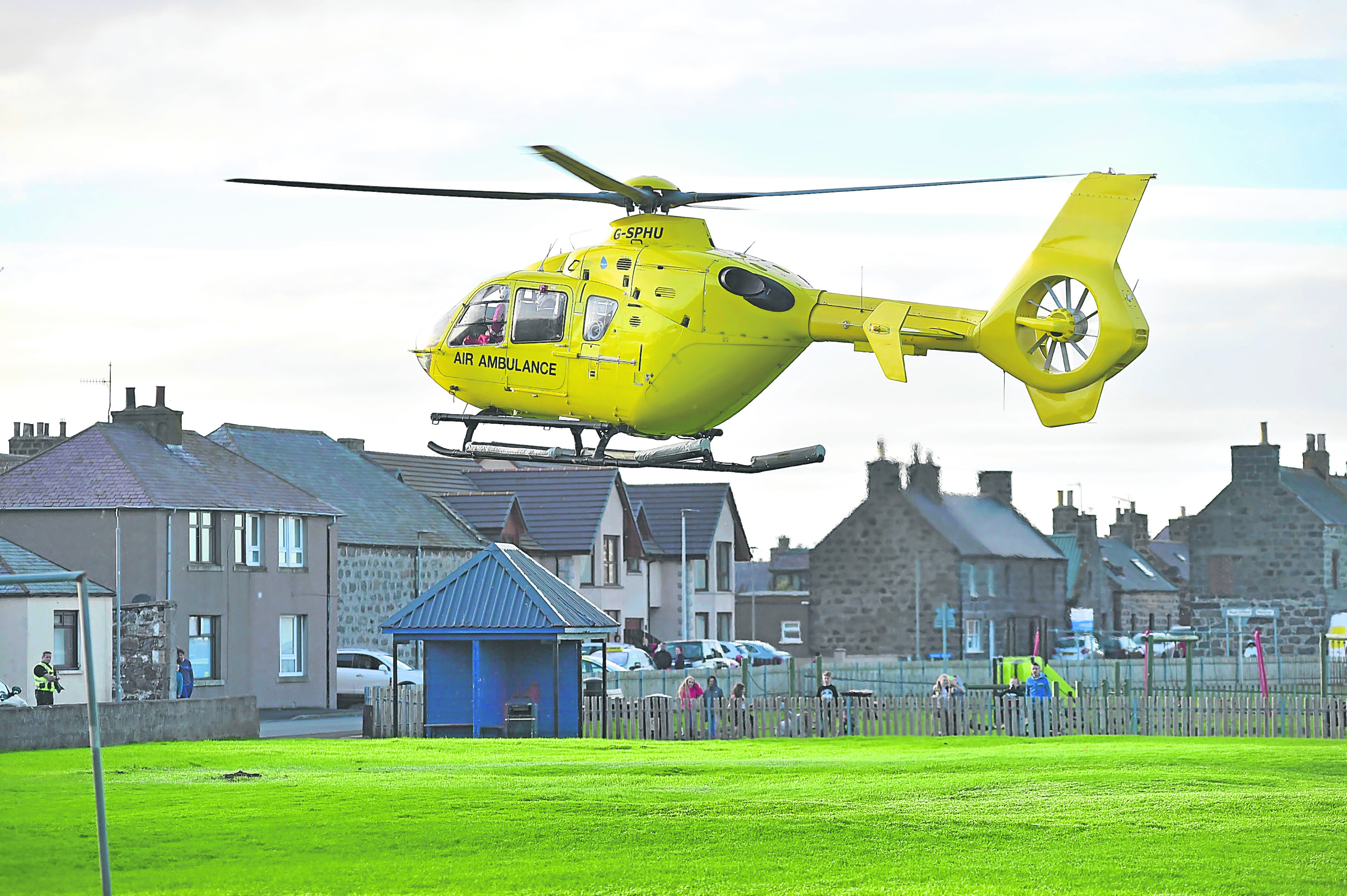 The air ambulance leaves Rosehearty