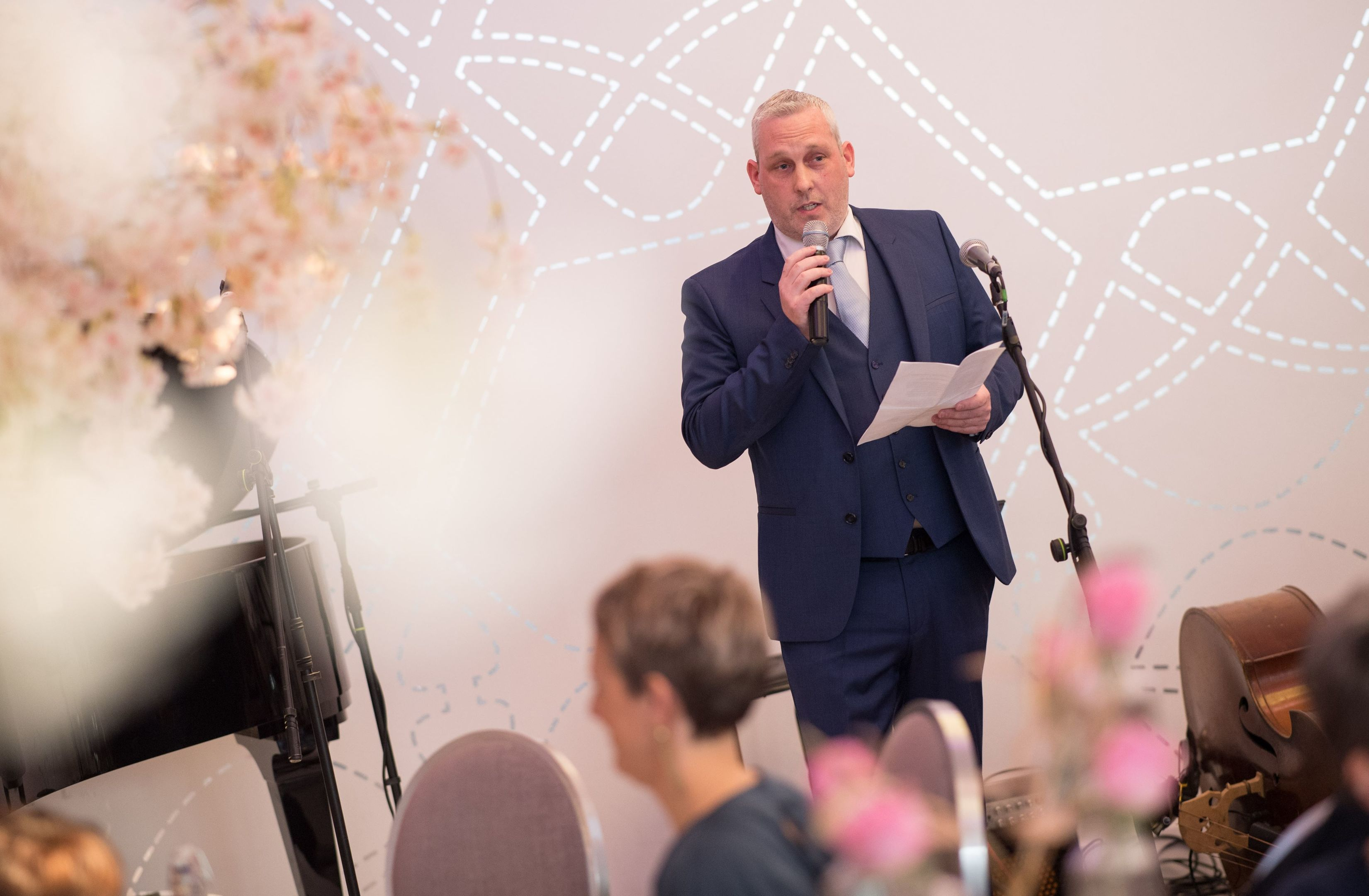 Graham Wood addressing diners at the event