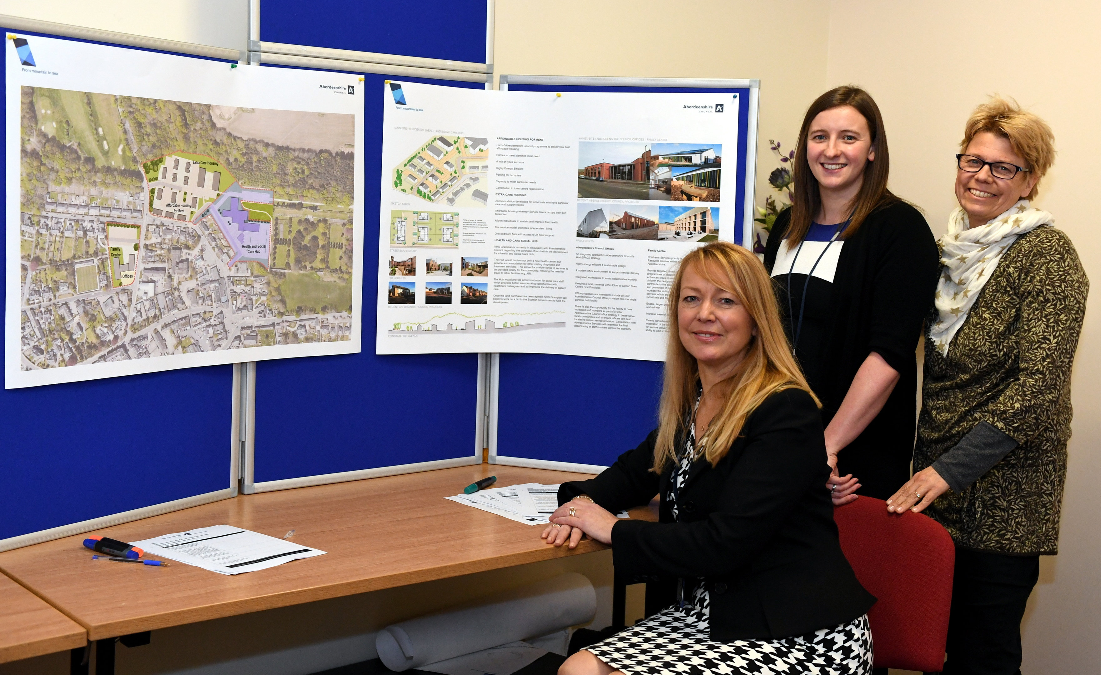 Pictured - Council Area Manager Elaine Brown (seated) with Council Architect Alison Mitchell (left) and Councillor Anouk Kloppert (right).    Picture by Kami Thomson