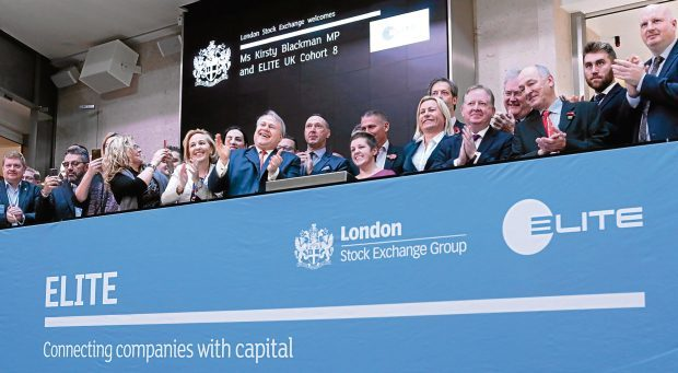 Scottish SNP MP Kirsty Blackman and new UK Elite chief executives open the London Stock Exchange