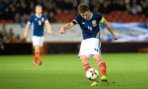 Kieran Tierney in action for Scotland