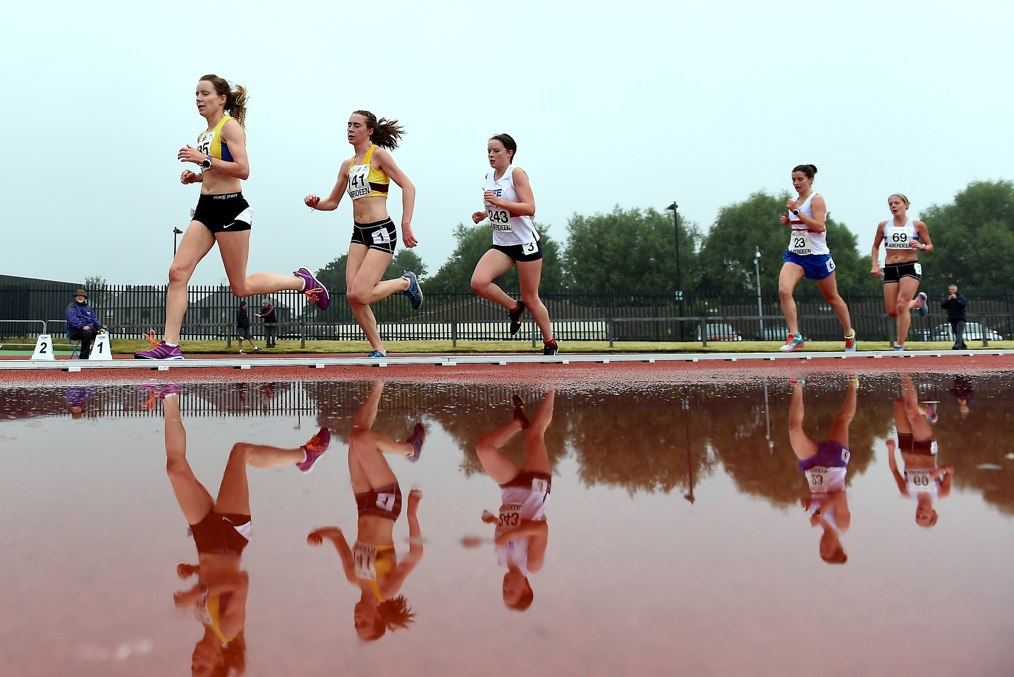 Scottish Athletics National Senior Championships and Parallel Success - No 141 Mhairi Maclennan and 23 Ellie Buchan compete in the woman's 5000m at Aberdeen Sports Village.  Picture by KEVIN EMSLIE