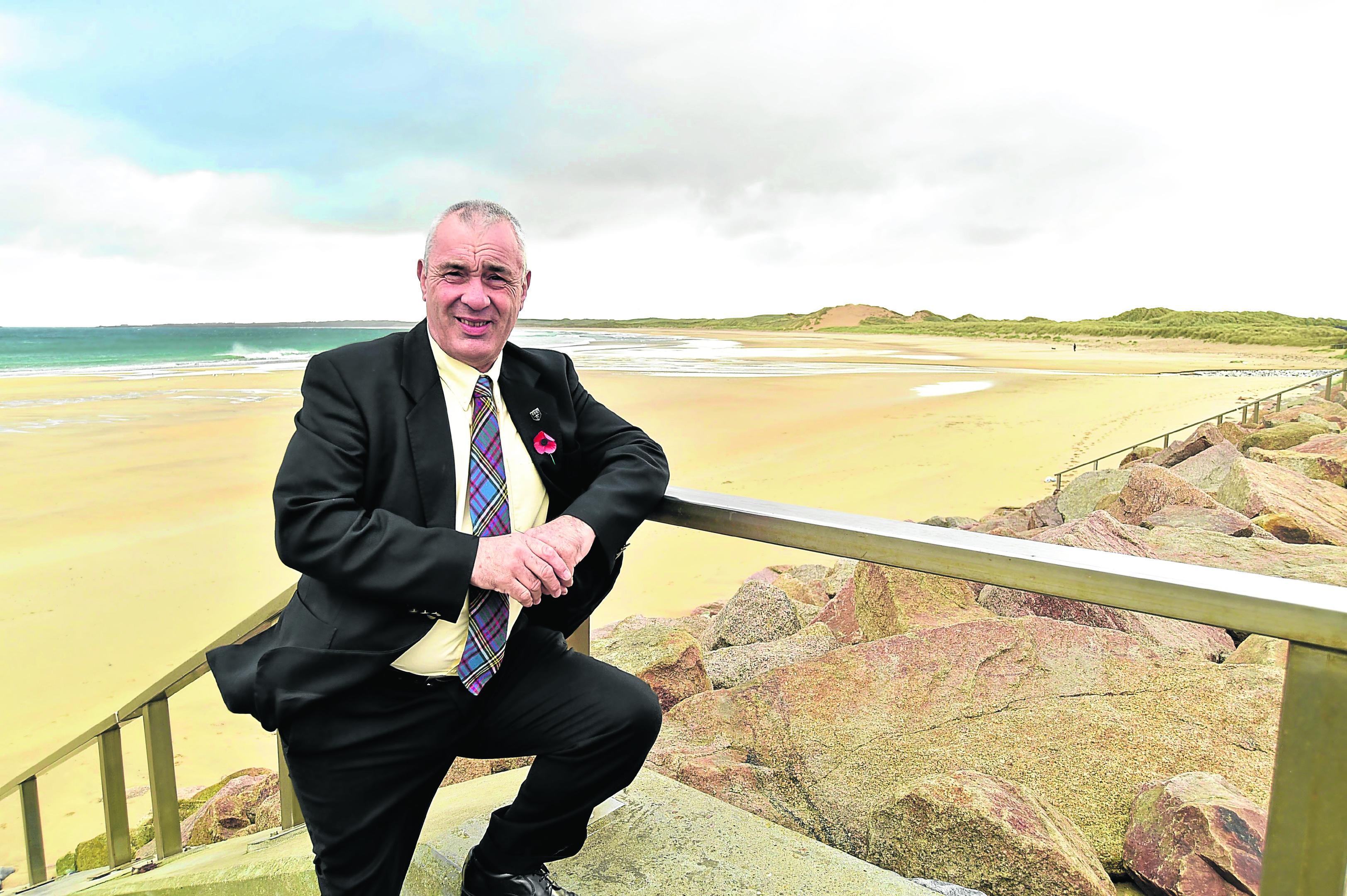 Councillor Brian Topping at Fraserburgh Beach