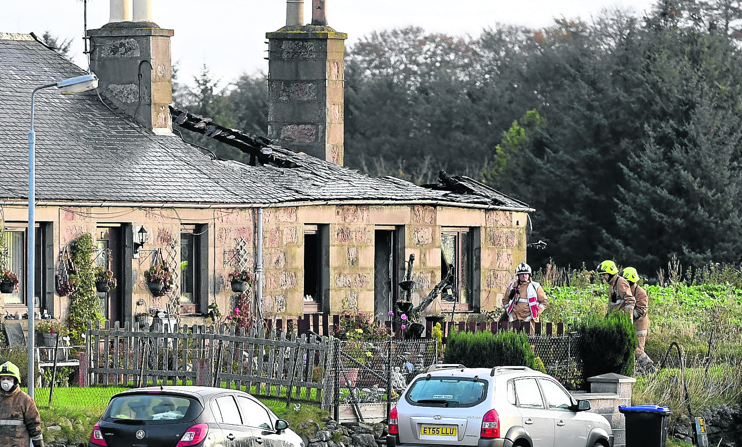 Firefighters at the scene in Rhynie