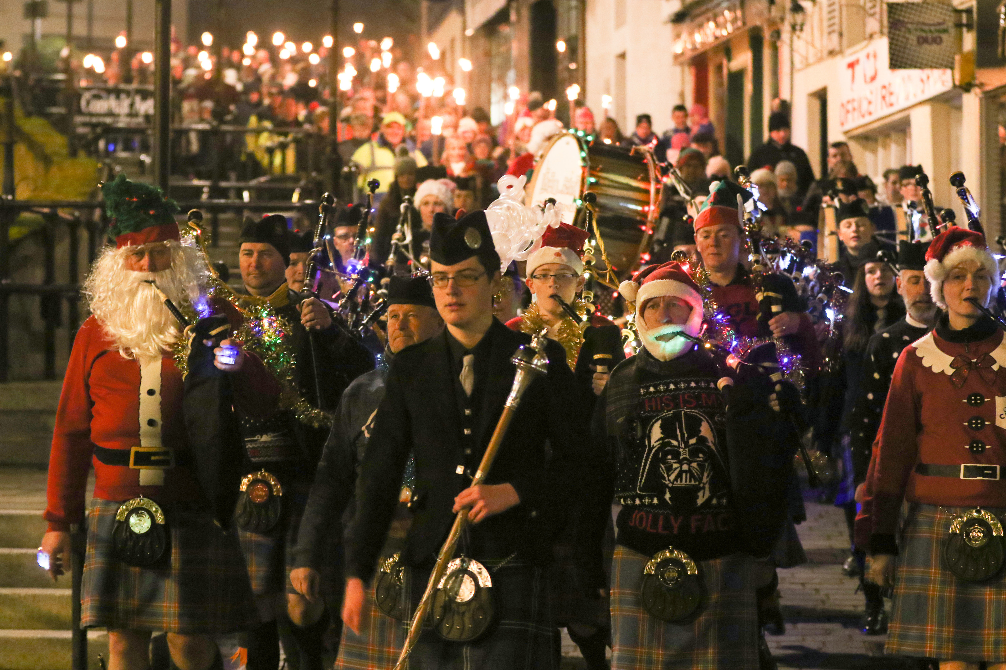19 November 2017: Inverness Christmas Lights switch on. This pic: Parade down Stephen's Brae. Picture: Andrew Smith