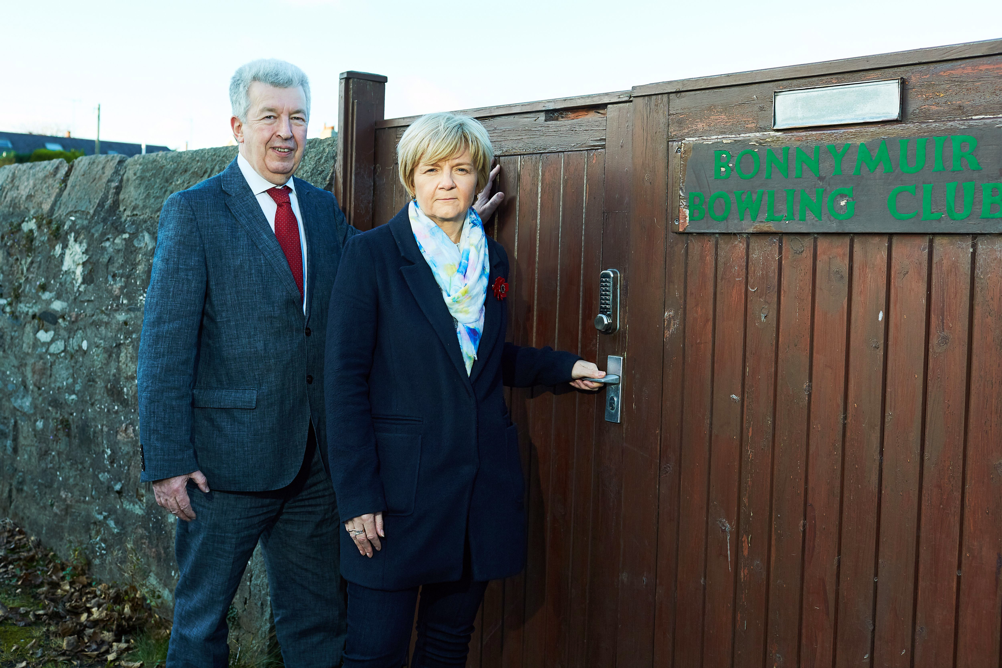 Lewis Macdonald MSP with Jenny Laing at Bonnymuir Green.