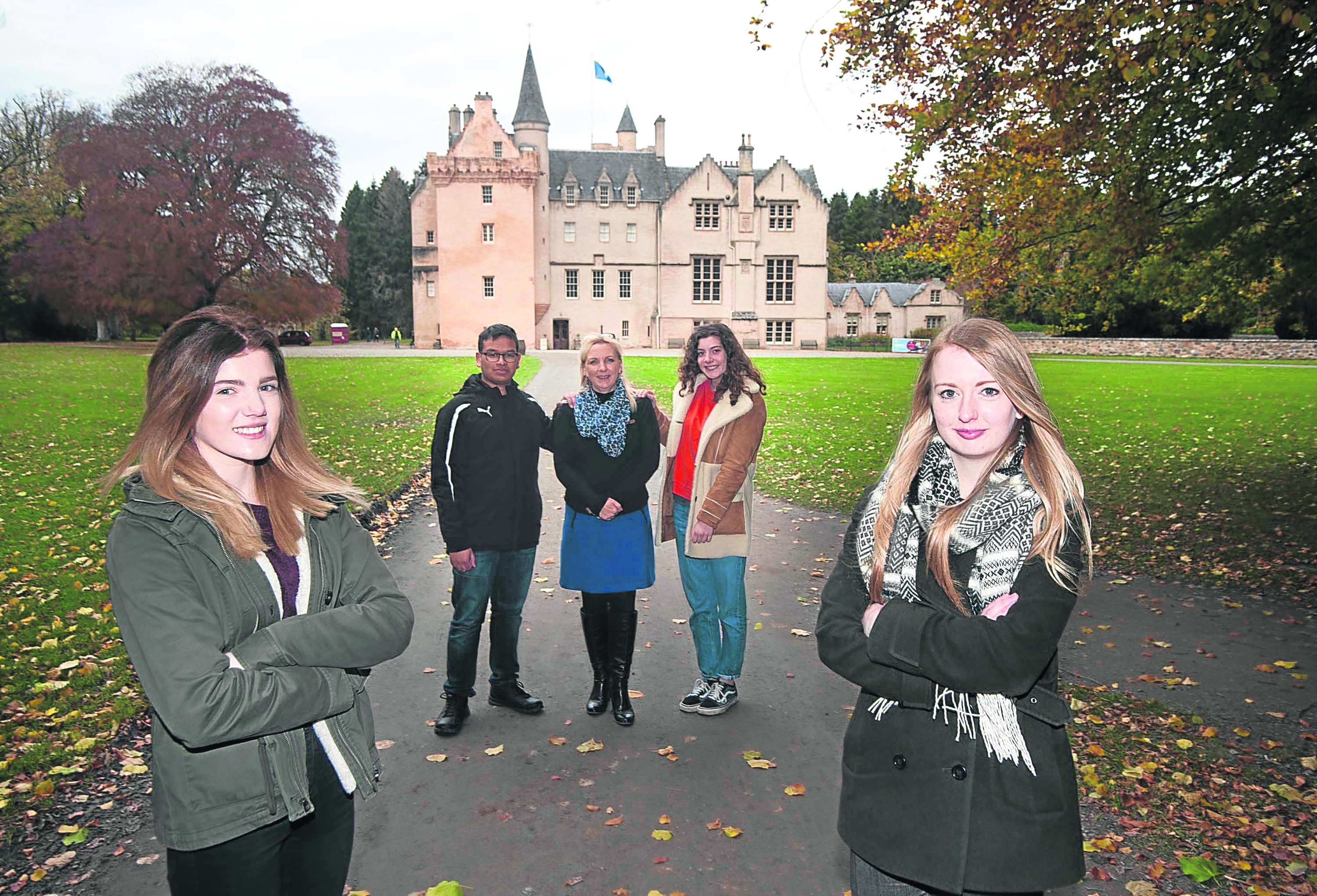 In photo from the left Cara Smith 16,Tarrance Esttocio 16, Tami Wilson lecturer in hospitality at Moray collage, Melanie Cox 16 and Sarah Baxter DYW Moray coordinator.