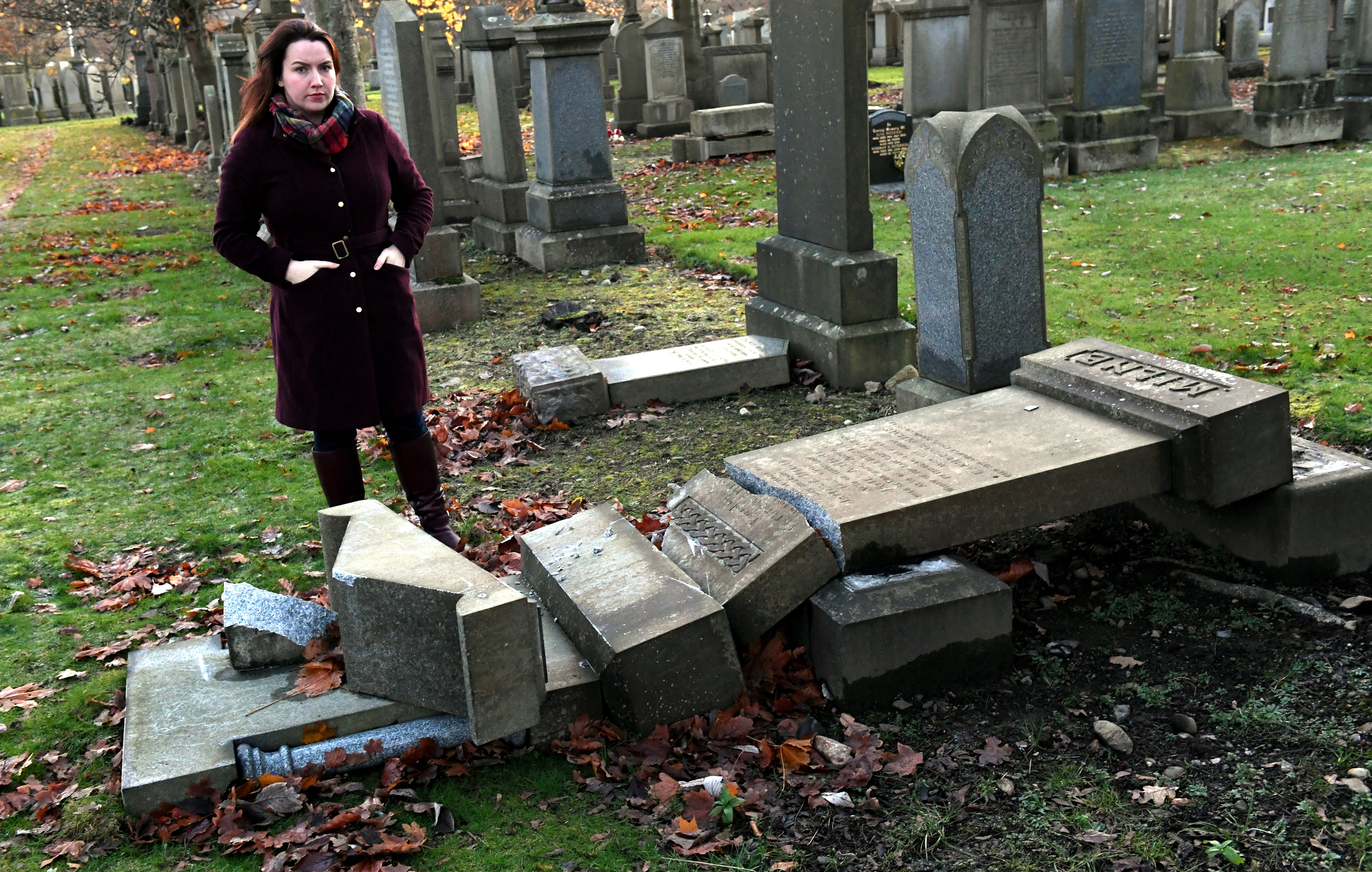 Councillor Catriona Mackenzie at Allenvale Cemetray where around 18 headstones have been toppled over and another 7 have been damaged.     Picture by Kami Thomson
