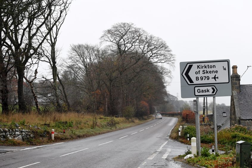 The A944 to Alford at the junction for Kirkton of Skene B979 where plans have been passed to lower the speed limit to 50mph.