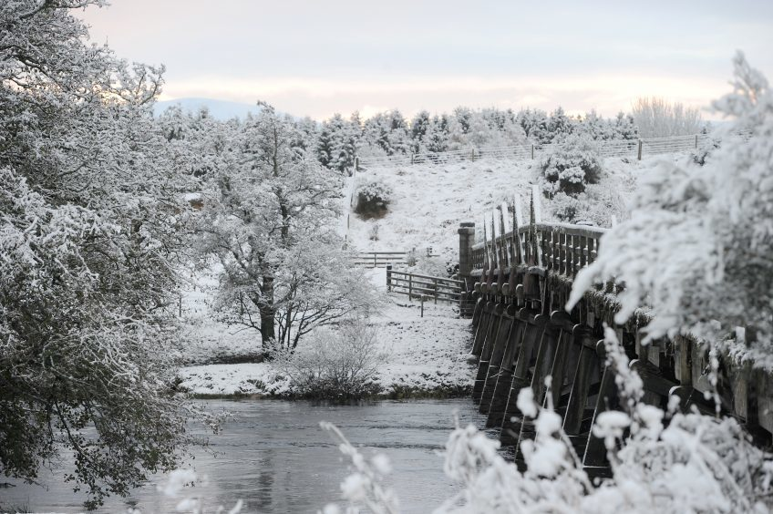 A wintry scene at Broomhill Bridge, Nethy Bridge. Pic by Sandy McCook.