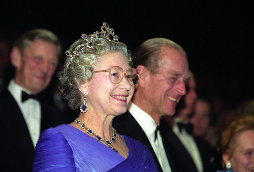 Queen Elizabeth II and the Duke of Edinburgh at an event celebrating the 40th anniversary of her accession to the throne. October 1992.
