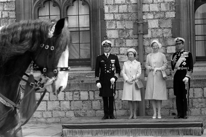 Queen Margarethe and Prince Henrik of Denmark with Queen Elizabeth II and the Duke of Edinburgh after the Danish couple arrived at Windsor Castle. April 1974.