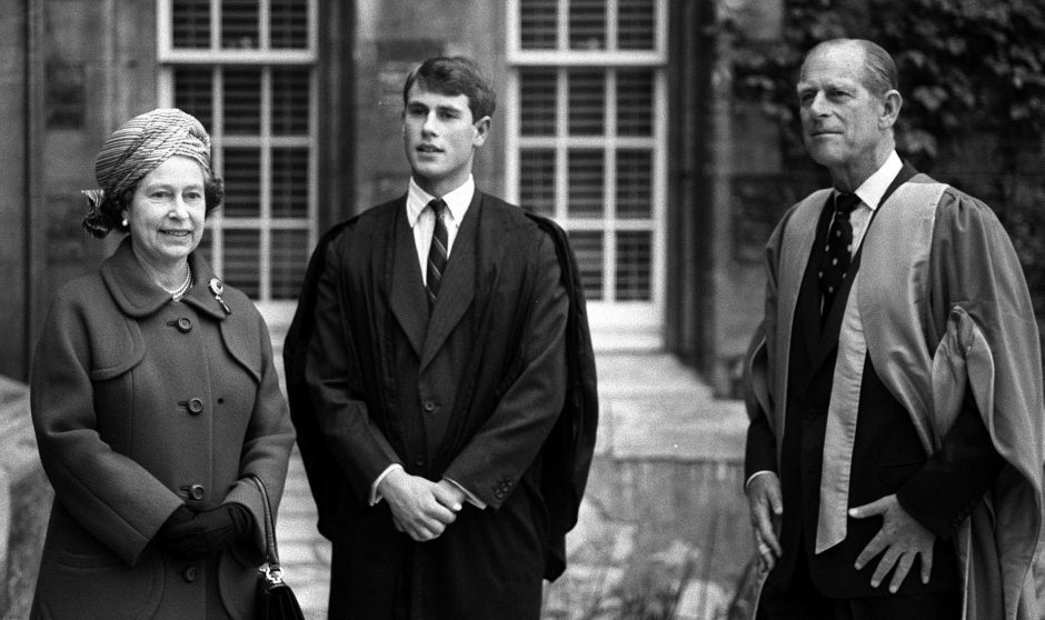 Queen Elizabeth II and the Duke of Edinburgh visiting Prince Edward at Jesus College, during an official visit to Cambridge. May 1984.