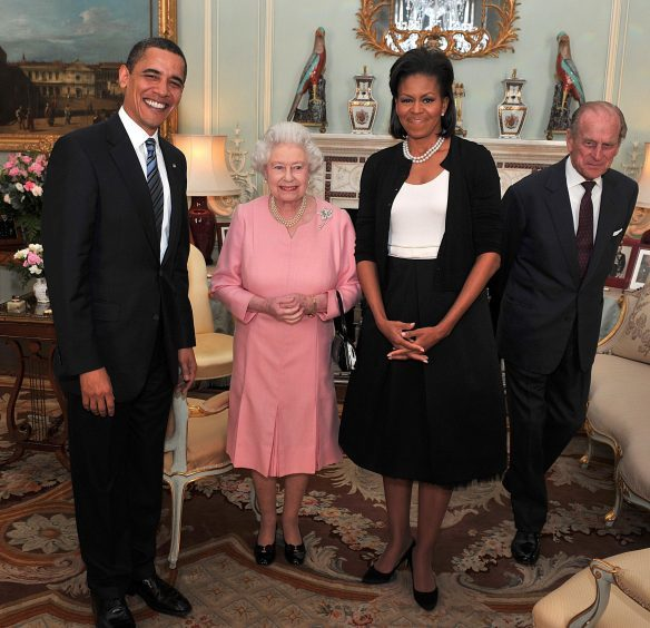 US President Barack Obama and Michelle Obama, talk with Queen Elizabeth II and the Duke of Edinburgh during an audience at Buckingham Palace in London. April 2009.