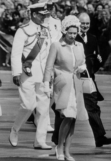 Queen Elizabeth II and the Duke of Edinburgh arrive in Sydney, Australia, during the royal tour of Australasia. April 1970.